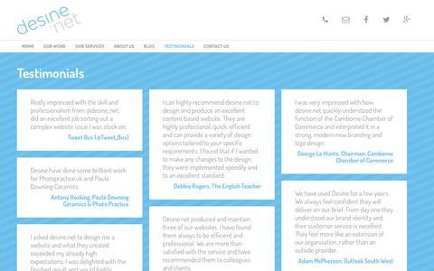 Screenshot of Testimonials Page desine.net - Testimonials   desine - web and graphic design Cornwall - captured Feb. 9, 2016