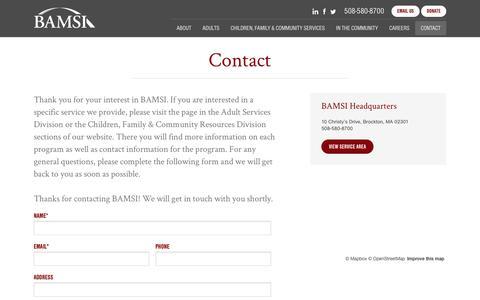 Screenshot of Contact Page bamsi.org - Contact - BAMSI - captured May 25, 2017