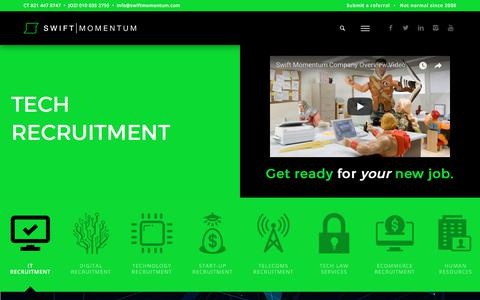 Screenshot of Services Page swiftmomentum.com - Recruitment Services · Swift Momentum - captured Oct. 24, 2017