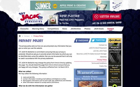 Screenshot of Privacy Page jackfmberkshire.com - Privacy Policy | Contact | 107 JACK fm Berkshire - captured Oct. 26, 2014