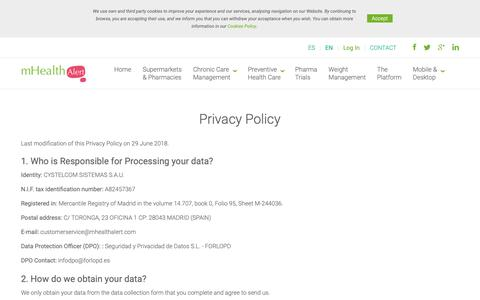 Screenshot of Privacy Page mhealthalert.com - mHealthAlert   Privacy Policy - captured Dec. 11, 2018