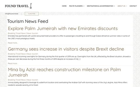 Screenshot of Press Page found.travel - Tourism Industry News | Found Travel - captured July 13, 2019