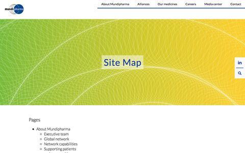 Screenshot of Site Map Page mundipharma.com - Site map - Mundipharma - captured Sept. 22, 2018