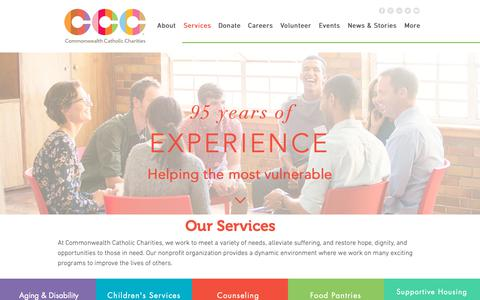 Screenshot of Services Page cccofva.org - Programs | Commonwealth Catholic Charities - captured Sept. 29, 2018