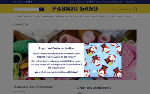 Screenshot of Contact Page fabricland.co.uk - Contact Us | Get in touch at Fabricland.co.uk | Online Fabric Store - captured Dec. 31, 2016
