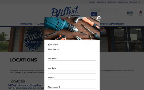 Screenshot of Contact Page Locations Page bliffertlumber.com - Locations - Bliffert Lumber - captured Jan. 27, 2020