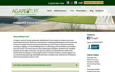 Screenshot of FAQ Page artificiallawnsphoenix.com - Facts and Questions  | Agape Turf LLC. - captured Oct. 22, 2018
