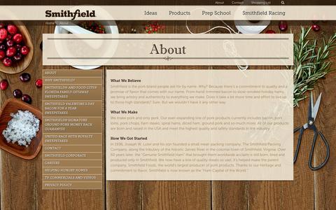 Screenshot of About Page smithfield.com - About - Smithfield.com | Flavor hails from Smithfield. - captured Feb. 16, 2016