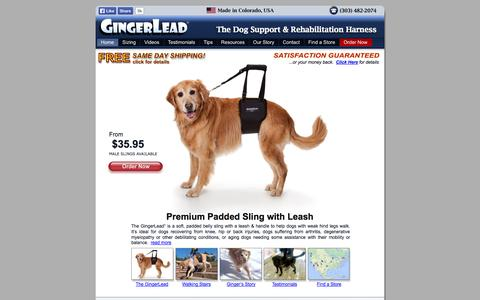 Screenshot of Home Page gingerlead.com - Dog Rear Support Sling Harnesses   Help Dogs Walk with Knee, Hip or Back Injuries, Surgery Recovery, Arthritis or Degenerative Myelopathy - captured Oct. 2, 2014
