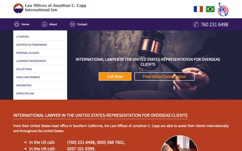 Screenshot of Home Page jcclex.com - International lawyers, American lawyers in the United States - captured Sept. 11, 2015