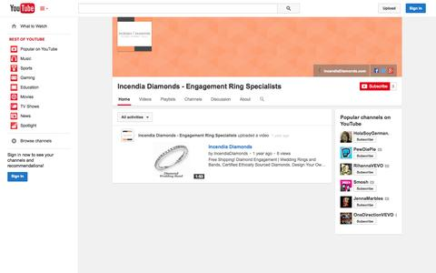 Screenshot of YouTube Page youtube.com - Incendia Diamonds - Engagement Ring Specialists  - YouTube - captured Oct. 23, 2014