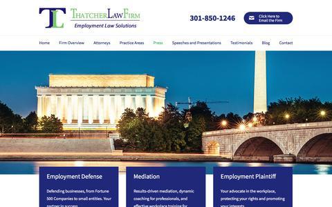 Screenshot of Press Page thatcherlaw.com - Press | Thatcher Law Firm | Washington, D.C. - captured Sept. 25, 2018