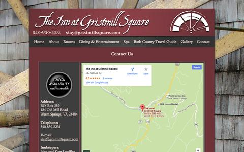 Screenshot of Contact Page gristmillsquare.com - Contact Us at The Inn at Gristmill Square Bed and Breakfast in Warm Springs, Bath County, Virginia - captured Oct. 6, 2014