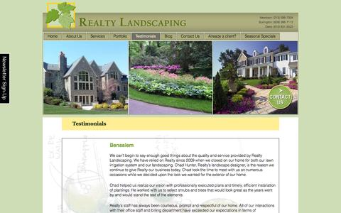 Screenshot of Testimonials Page realtylandscaping.com - Landscape Design and Maintenance Customer Testimonials | - captured Oct. 7, 2014
