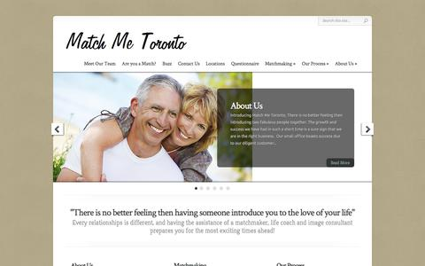 Screenshot of Home Page matchmetoronto.ca - Match Me Toronto - Professional Matchmaking and Date Coaching to Career Professionals. | - captured Oct. 6, 2014