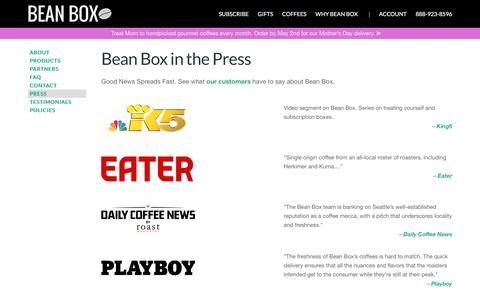 Screenshot of Press Page beanbox.co - Press | Bean Box - captured April 14, 2016