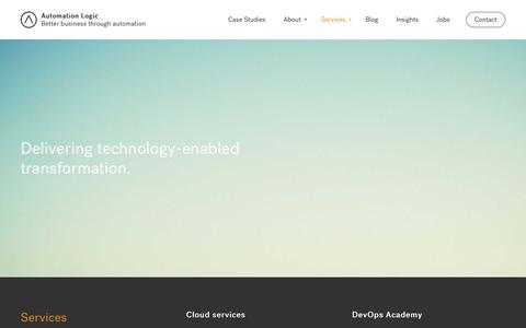 Screenshot of Services Page automationlogic.com - DevOps Cloud and Automation Consultancy Services - captured July 31, 2018