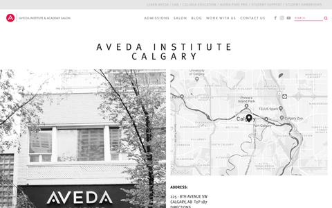 Screenshot of Contact Page avedainstitute.ca - Location information for the Aveda Institute Calgary — Aveda Institutes Canada - captured Oct. 4, 2018