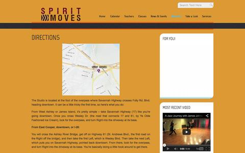Screenshot of Maps & Directions Page spiritmoves.com - Directions » Spirit Moves: Dance, Fitness, and Healing Arts Studio in Charleston, SC. - captured Oct. 9, 2014