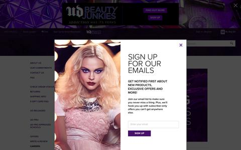 Screenshot of Jobs Page urbandecay.com - Careers | Urban Decay - captured June 11, 2017