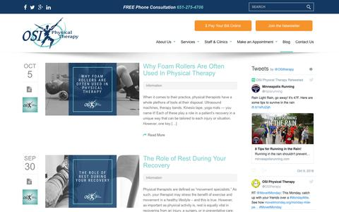 Screenshot of Blog osipt.com - The Starting Line | Promoting Healthy Living | PT Blog - captured Oct. 18, 2018
