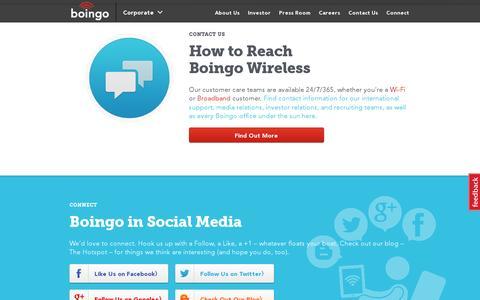 Screenshot of Contact Page boingo.com - Corporate | Boingo Wireless, Inc. - captured July 20, 2014