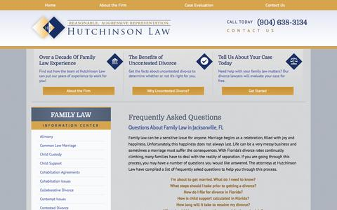 Screenshot of FAQ Page ehlawonline.com - Florida Family Law   Frequently Asked Questions - captured Oct. 1, 2014