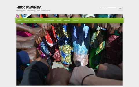 Screenshot of Support Page healingandrebuildingourcommunities.org - Support Our Work   HROC RWANDA - captured Oct. 22, 2018