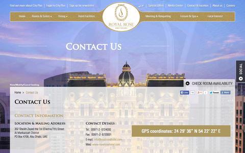 Screenshot of Contact Page royalrosehotel.com - Contact Royal Rose Hotel at Al Markaziyah District, Abu Dhabi: Royalrosehotel.com - captured Sept. 30, 2014