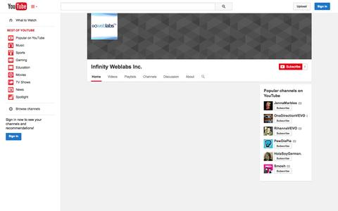 Screenshot of YouTube Page youtube.com - Infinity Weblabs Inc.  - YouTube - captured Oct. 27, 2014
