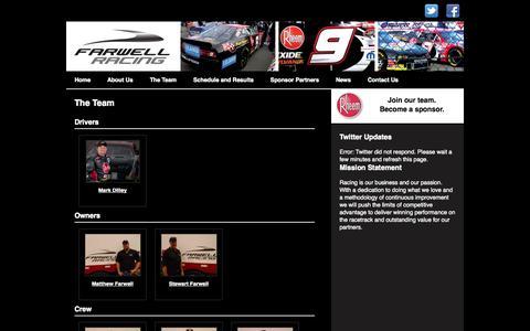 Screenshot of Team Page farwellracing.com - The Team    Farwell Racing - captured Oct. 5, 2014