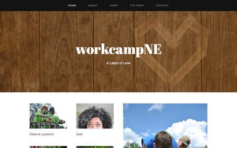 Screenshot of Home Page workcampne.com - workcampNE - captured Oct. 7, 2014