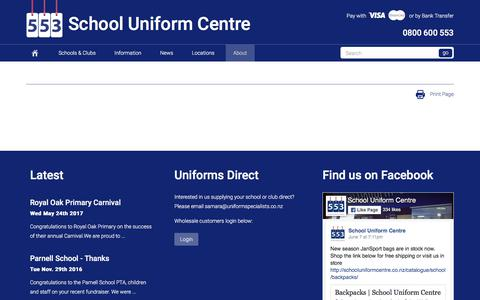Screenshot of About Page uniformsdirect.co.nz - | School Uniform Centre - captured June 11, 2017