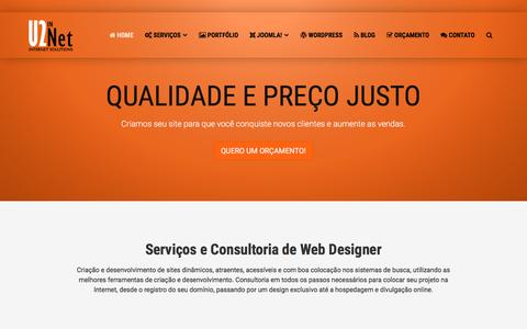 Screenshot of Home Page u2net.com.br - U2Net - Criação e Desenvolvimento de Sites - Web Designer RJ - captured April 13, 2016