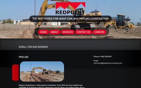 Screenshot of Services Page redpointcontracting.com - REDPOINT CONTRACTING::: Services - REDPOINT CONTRACTING - captured Oct. 29, 2014