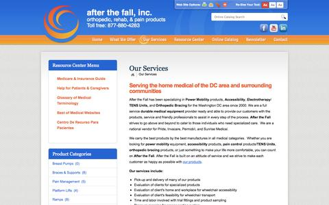 Screenshot of Services Page afterthefallinc.com - After The Fall, Inc. :: Experts in Orthopedic Bracing and Electrotherapy - captured Oct. 4, 2014
