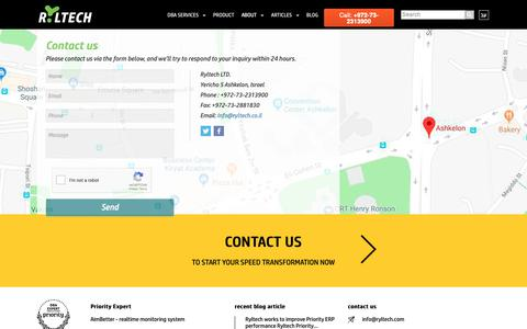 Screenshot of Contact Page ryltech.co.il - Contact us | Ryltech DB & IT Services - captured Oct. 18, 2018
