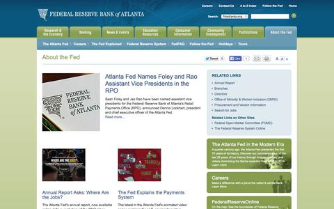 Screenshot of About Page frbatlanta.org - About the Fed - Federal Reserve Bank of Atlanta - captured Sept. 22, 2014
