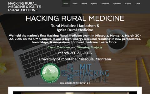 Screenshot of Home Page hackingruralmedicine.org - Hacking Rural Medicine & Ignite Rural Medicine – From Idea to Breakthrough Innovation in One Weekend - captured Sept. 8, 2015