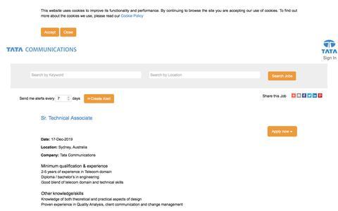 Screenshot of Jobs Page tatacommunications.com - Sr. Technical Associate - captured Dec. 18, 2019