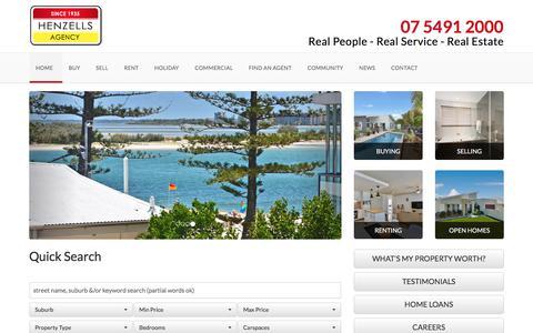 Screenshot of Home Page henzells.com.au - Henzells Agency - Caloundra and Sunshine Coast Real Estate - captured Aug. 3, 2017