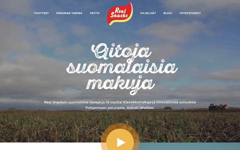 Screenshot of Home Page realsnacks.fi - Real Snacks - Perunalastut, maissilastut ja juustosnacksit - captured March 4, 2016
