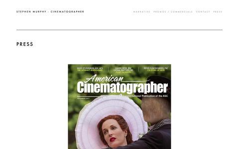 Screenshot of Press Page stephen-murphy.com - Press - STEPHEN MURPHY - CINEMATOGRAPHER - captured Sept. 30, 2018