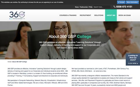 Screenshot of About Page 360gsp.com - About 360 GSP College - captured Feb. 13, 2016