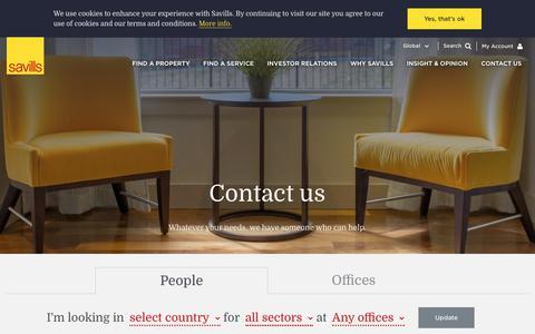 Screenshot of Contact Page savills.com - Savills  | People - captured Jan. 16, 2019