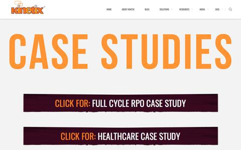 Screenshot of Case Studies Page kinetixhr.com - Case Studies - Detail on implementation, execution, and results from Kinetix's work - captured Sept. 6, 2019
