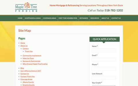 Screenshot of Site Map Page mapletreefunding.com - Site Map - captured Sept. 20, 2018
