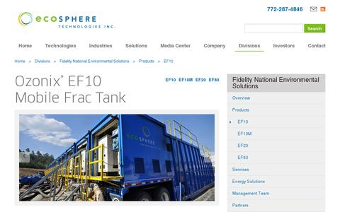 Screenshot of Products Page ecospheretech.com - Ozonix® EF10 Frac Tank - Chemical Free Wastewater Treatment for Fracking - captured July 19, 2014