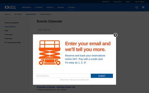 Screenshot of unitedrentals.com - Events Calendar   United Rentals - captured Nov. 3, 2017