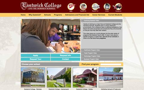 Screenshot of Home Page eastwick.edu - Home   Eastwick College and the HoHoKus Schools - captured Oct. 1, 2014